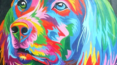 Royston Art Society exhibition at the town museum, May 2016. Colourful Dog by Richard Clayton