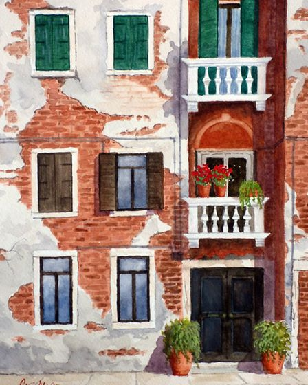 Royston Art Society exhibition at the town museum, May 2016. Venice, Two White Balconies by Peter Mo
