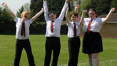 Joey Reader, Jacob Smith, Saffron Dixon and Ellie Kendall from Bassingbourn Village School celebrate