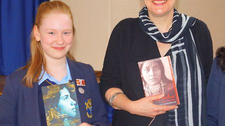 Year 9 pupil Porsha Sears with author Tanya Landman on her visit to St Albans Girls' School.