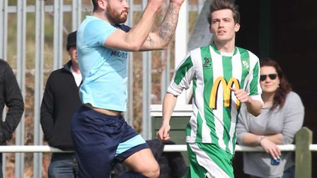 Jonny Hall in action for Godmanchester Rovers in their 3-1 win at Whitton last season. Picture: STEV