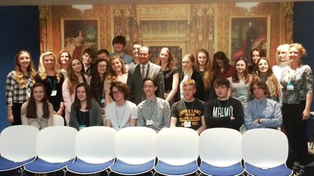 North West Cambridgeshire MP Shailesh Vara with students from Abbey College, Ramsey.