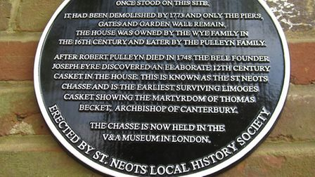 The plauque that was unveiled by the St Neots Local History Society