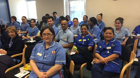 Nurses from Watford General Hospital get dementia training from Fiona Harrall of the St Albans based
