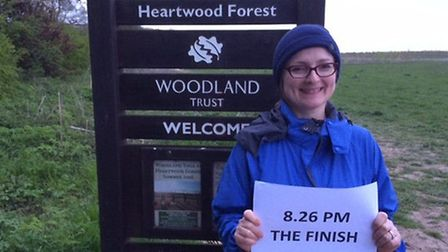 Tracey McCarrick completed her gruelling challenge as the sun set over Heartwood forest in Sandridge
