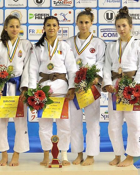 Amy Platten (far right) picked up a bronze medal at the European Judo Cup in Romania. Picture: EUROP