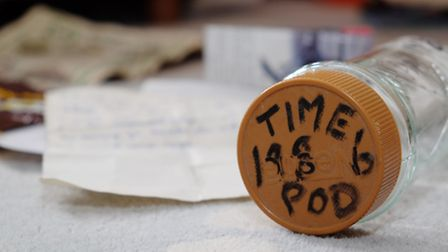The time pod from 1986 left by brothers by Mark and James Noble which was found underneath Jane Walk