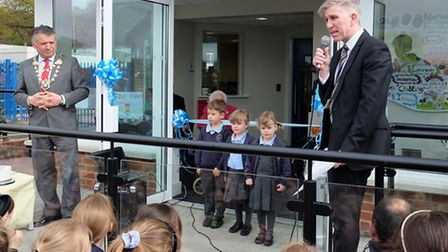 Head of Garden Fields Chris Jukes opens the new building with Mayor of St Albans Cllr Salih Gaygusuz