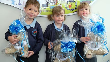 Garden Fields school's youngest pupils Edward Stanton, Izzy and Darcey Hall, all aged four, with spe