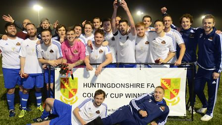 AFC Barley Mow celebrate their Hunts Lower Junior Cup success. Picture: DAVID LOWNDES