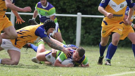 Josh Lawrence is tackled a metre short of the line against Hemel