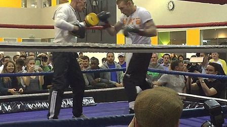 Ollie Pattison at a public workout ahead of his Haye Day fight
