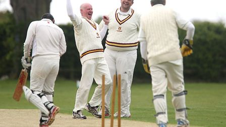 Phil Gillett celebrates his hat-trick during Waresley 2nds' victory against Godmanchester 2nds. Pict