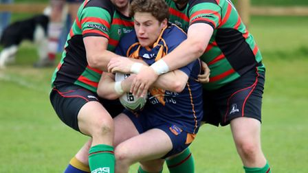 Chris Sykes (right) of St Ives Roosters suffered a fractured leg and ankle. Picture: LEIGH CHATTEN