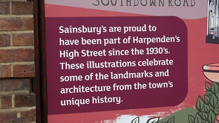 The murals on the outside of Sainsburys in Harpenden High Street