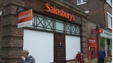 Sainsbury's previous vinyls in High Street, Harpenden, before they were replaced with heritage panel
