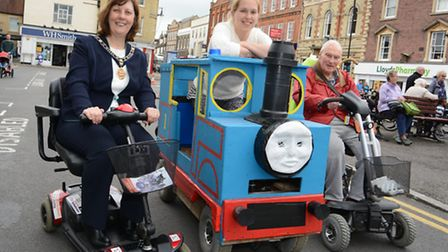 Mobility Scooter racing, St Ives, (l-r) Mayor Debbie Townsend, Becki MacLellan, and PAt Allen, at th