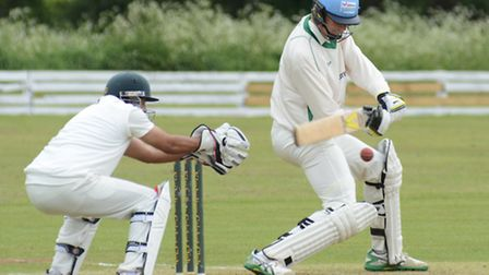 Kimbolton batsman Ruben Claassen pictured during their defeat against St Ives yesterday. Picture: HE