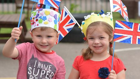 Crosshall Nursery, Eaton Ford, celebrate the Queens Birthday, (l-r) Emily, and Dexter.