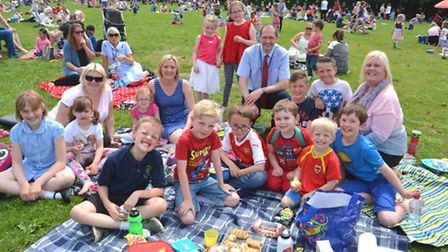 Brampton Primary School Family Picnic, the children are coming in red, white and blue in order to c