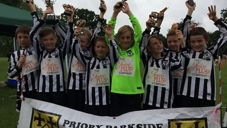 Buckden Vultures Under 9s won their age group at the Priory Parkside tournament. They are Louis Dean