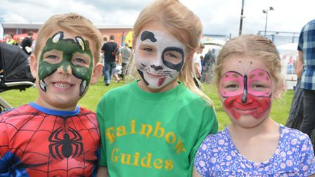 Sawtry Carnival, (l-r) Alfie, Kacie, and Lucy, face painted by Buttons And Bows Pre School,