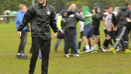 Manager Ricky Marheineke celebrating St Ives Town's play-off final triumph at the end of last season