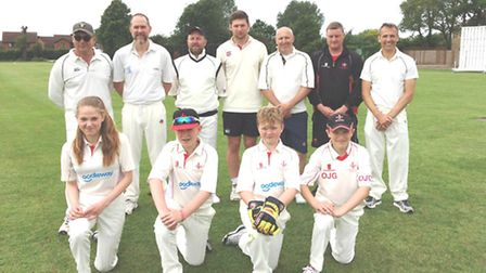 The Godmanchester 3rds team are back row, left to right, Grant Austin, Jamie Oliver, Paul Jefferies,