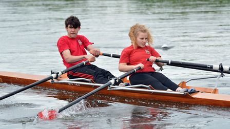 The victorioua St Ives Rowing Club duo of Mika Gawin and Tabby Renfrew-Knight. Picture: HELEN DRAKE