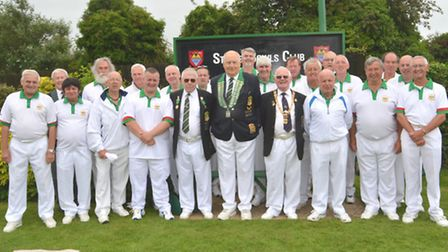 The Hunts team that faced Suffolk in the Newton Trophy last Saturday is pictured with dignitaries, m