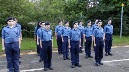 St Albans Sea Cadets practicing drill for their birthday celebrations