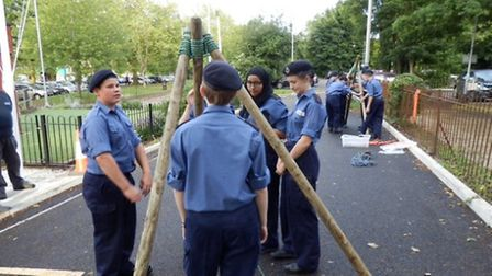 Cadets building a tripod, known as a Gyn