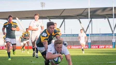 Max Malins crosses for England's fifth first-half try against South Africa in the U20 World Rugby Ch