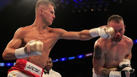 Tommy Martin in action against Michael Devine when winning the WBA Continental light welterweight ti