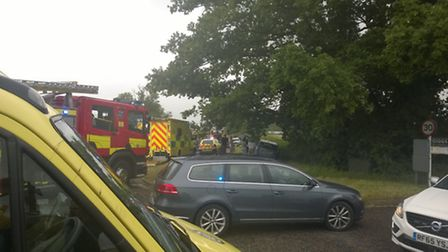 The scene of the crash on the B645 at Hail Weston