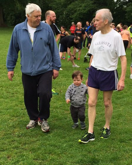 Peter Bailey, his friend Dave and grandson George after his 100th parkrun