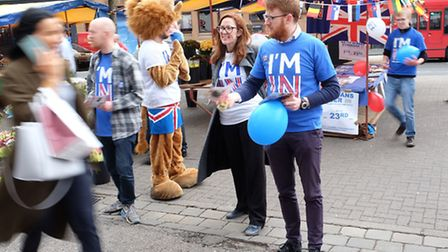 Campaigners for 'I'm In' speak to members of the public in St Albans