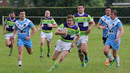 Sam Allen on his way to score his first try for St Albans Centurions
