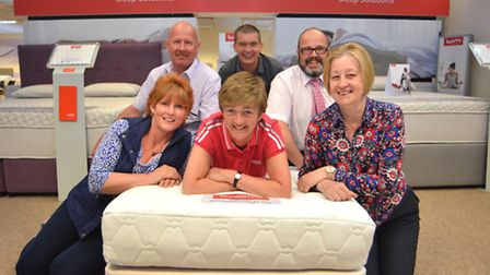Myers staff carried a bed up Snowdon for charity, (l-r) Natalie Richardson, Clive Richardson, Susan