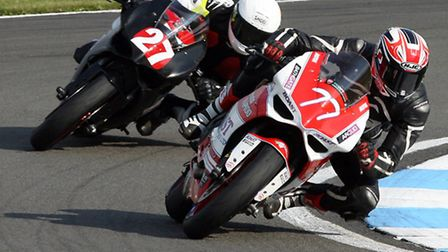 Jon Railton in action during the latest round of the Ducati TriOptions Cup at Donington Park. Pictur