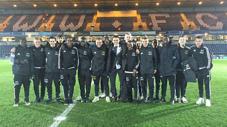 The first class of the Ben Herd Pro Performance Academy on a visit to Wycombe Wanderers' Adams Park