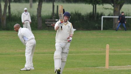 Albie Kerry celebrates his 50 not out