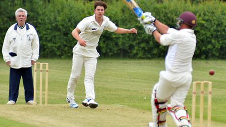 George Smith bowls for Needingworth in their victory against Buntingford last Saturday. Picture: HEL