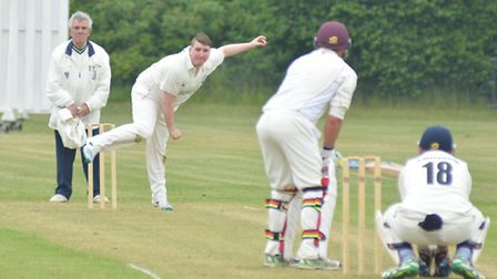 Chris Burling bowls for Needingworth in their victory against Buntingford last Saturday. Picture: HE