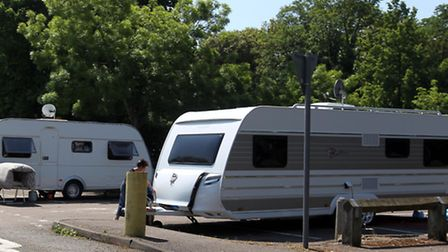 Travellers in Royston Town Hall car park.