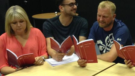 The cast during the first read through of Abigail's Party.