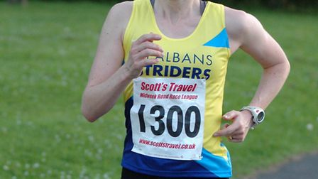 Claire Hallissey was the first woman home in the midweek road race league meeting in Chingford