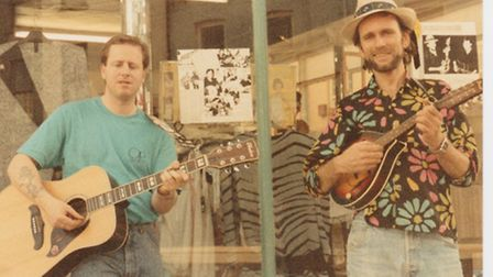 Pete Waters and Bruce Fursman outside a shop in Clonikilty Ireland in a busking competition!