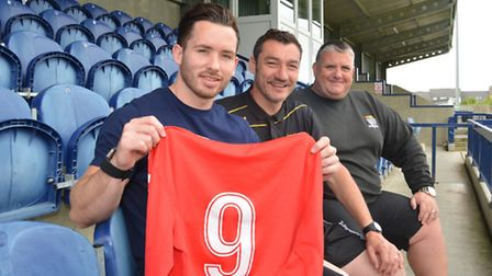 New St Neots Town signing James Hall pictured with director of football Iain Parr and joint manager