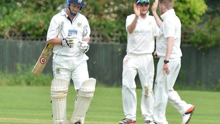 Eaton Socon batsman Matthew Taylor after being dismissed in their win at Ramsey. Picture: HELEN DRAK